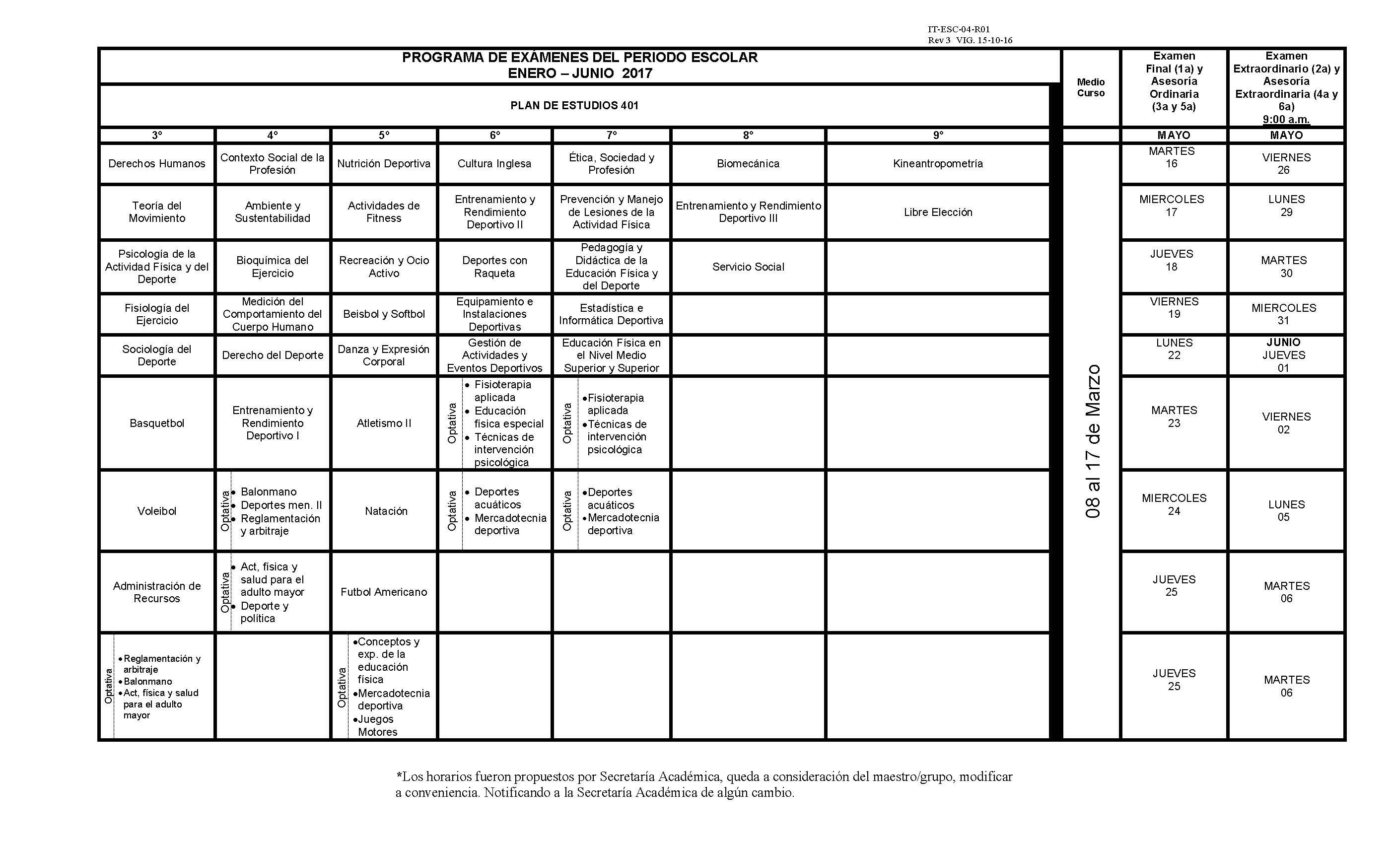 Calendario De Examenes.Calendario De Examenes Enero Junio 2017 Facultad De Organizacion
